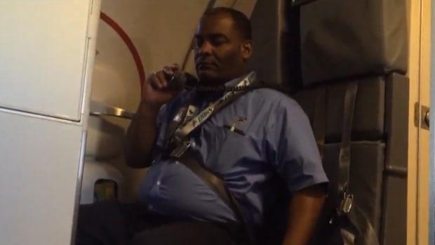 Flight Attendant Falling Asleep