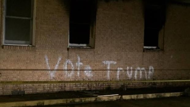 Black Church Burned, 'Vote Trump' Written On Wall Promo Image