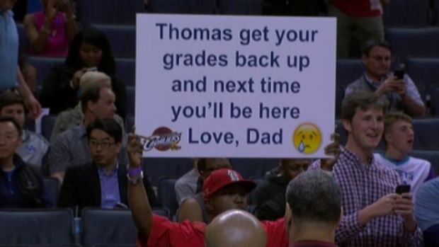 Father's Unusual Punishment At NBA Game Goes Viral (Photos) Promo Image