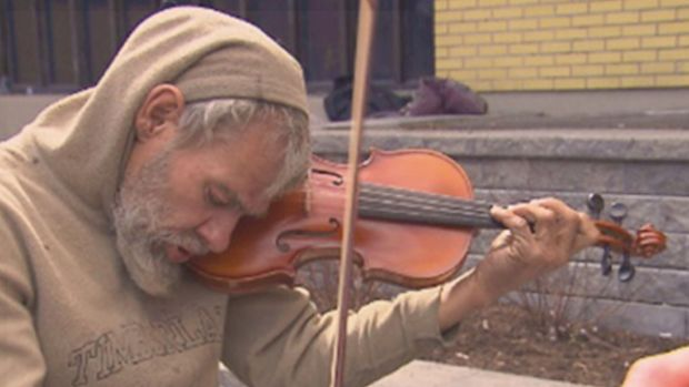 Homeless Man With Violin