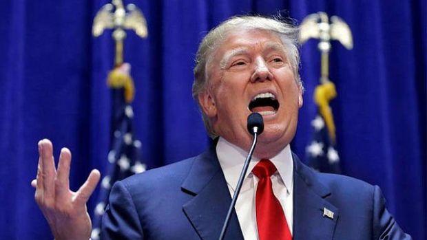 Trump speaking at podium