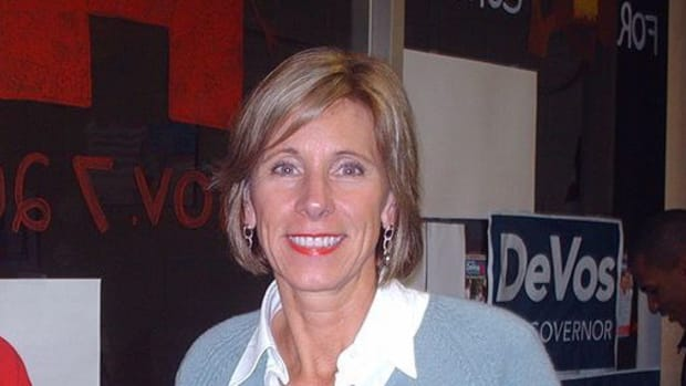 Betsy DeVos Flees D.C. School When She Sees What's At Door Promo Image