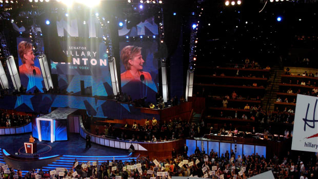 Hillary Clinton speaking during the 2008 Democratic National Convention