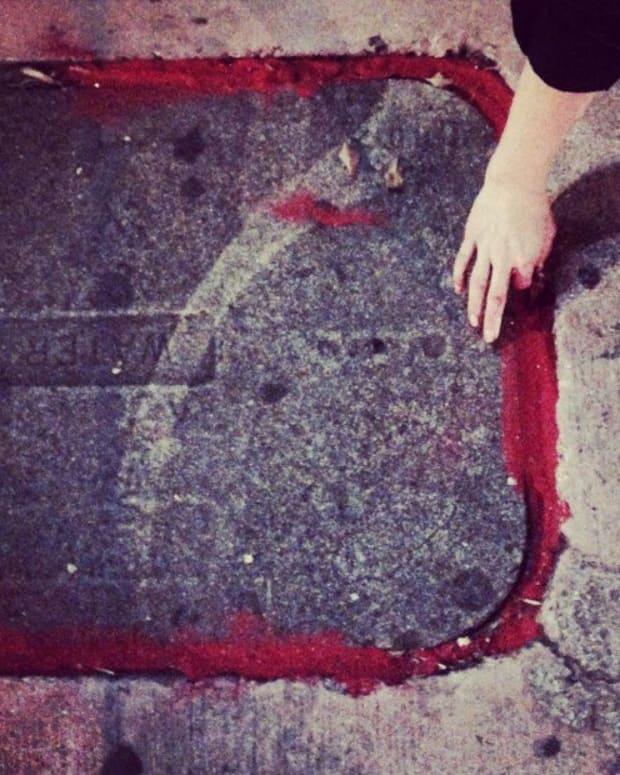Red Cracks Symbolizing Human Trafficking.