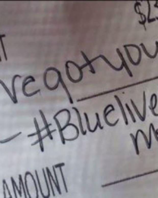 'Blue Lives Matter' written on receipt