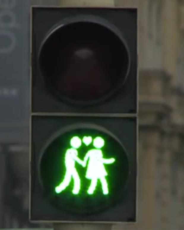 Gay-Themed Traffic Light