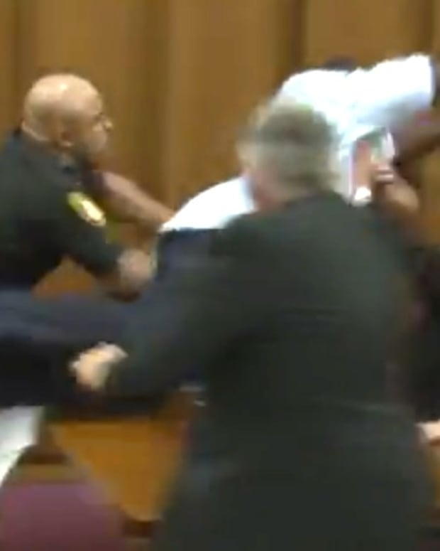 Dad Attacks Man Convicted Of Killing Daughter (Video) Promo Image