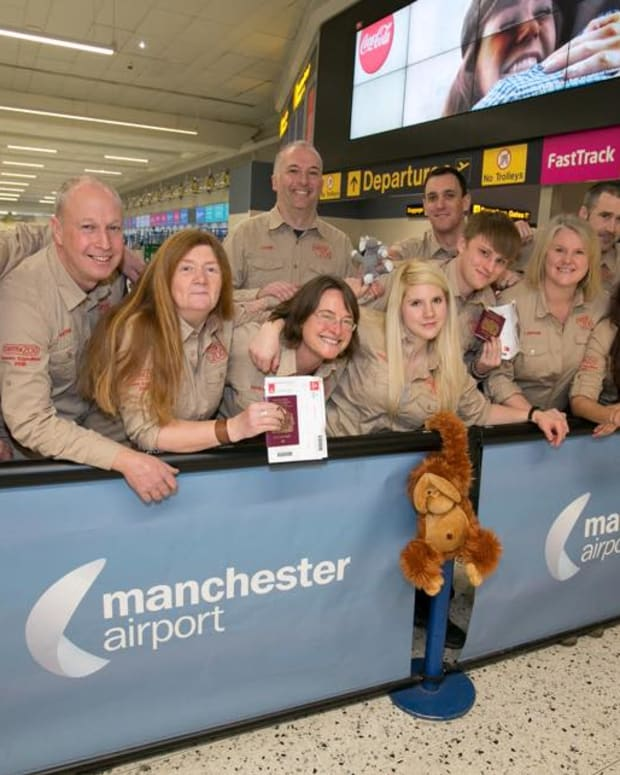 Chester Zoo staff at Manchester Airport