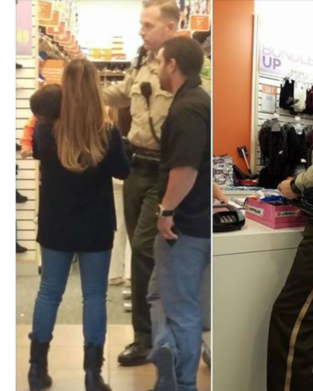 Officer Bruce Pierson and others buying shoes at Payless