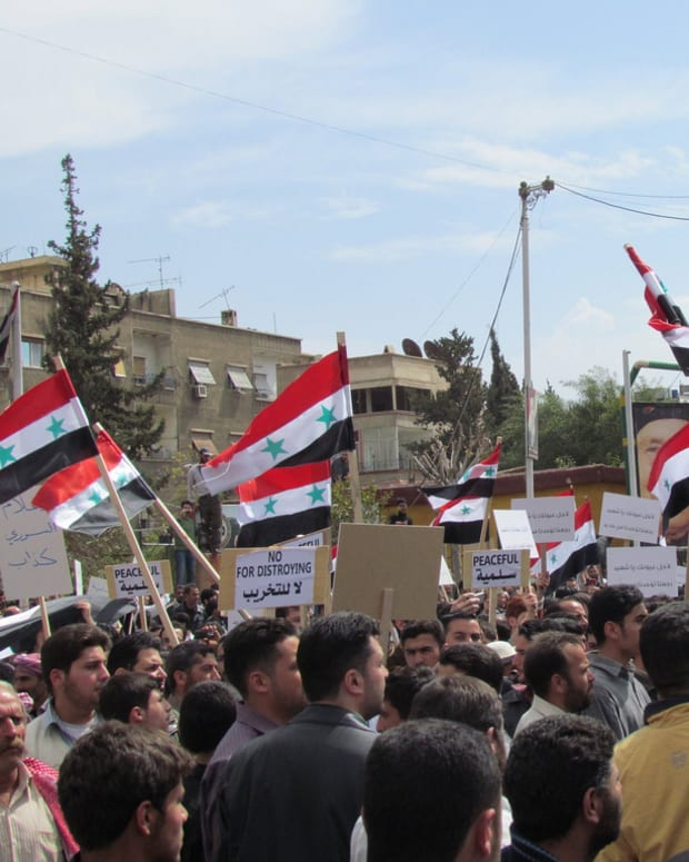 Syrian Civilians Protest In Damascus