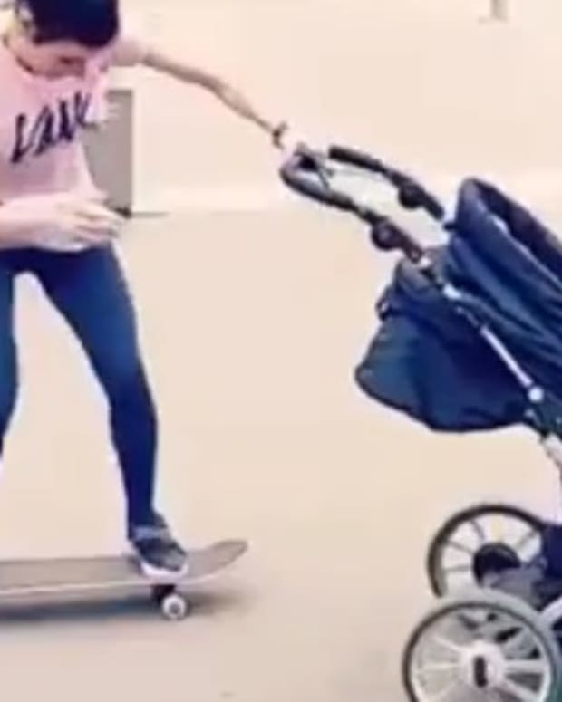 Mom Shows Off Impressive Skateboarding Skills (Video) Promo Image