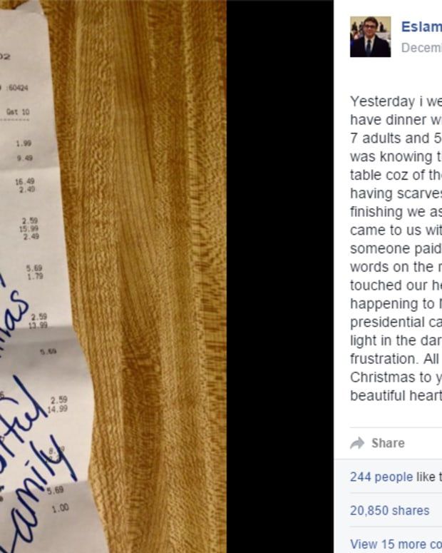 note on Muslim family's Olive Garden bill