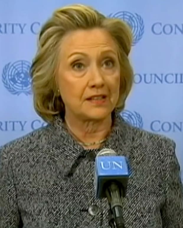 hillary clinton at a press conference