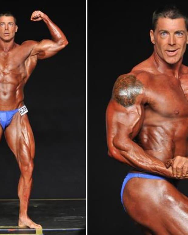 Derek Huebner is pictured bodybuilding
