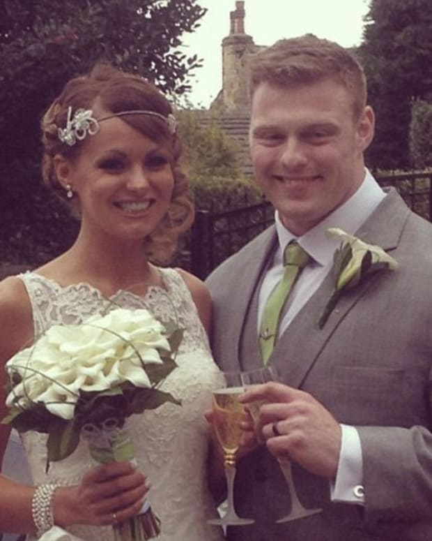 Lucy and Liam Crossley at their wedding
