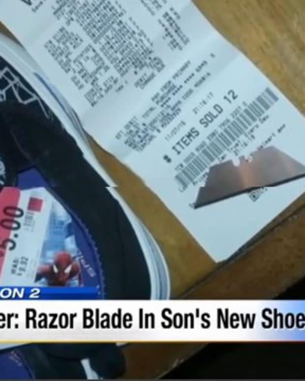 Razor Blade in Shoe.