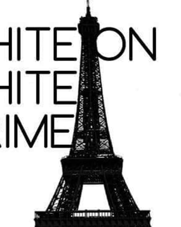 'White on White Crime' written next to Eiffel tower