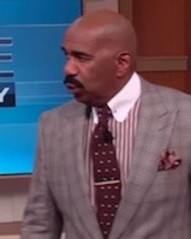 Steve Harvey Walks Off Stage After Seeing Woman (Video) Promo Image
