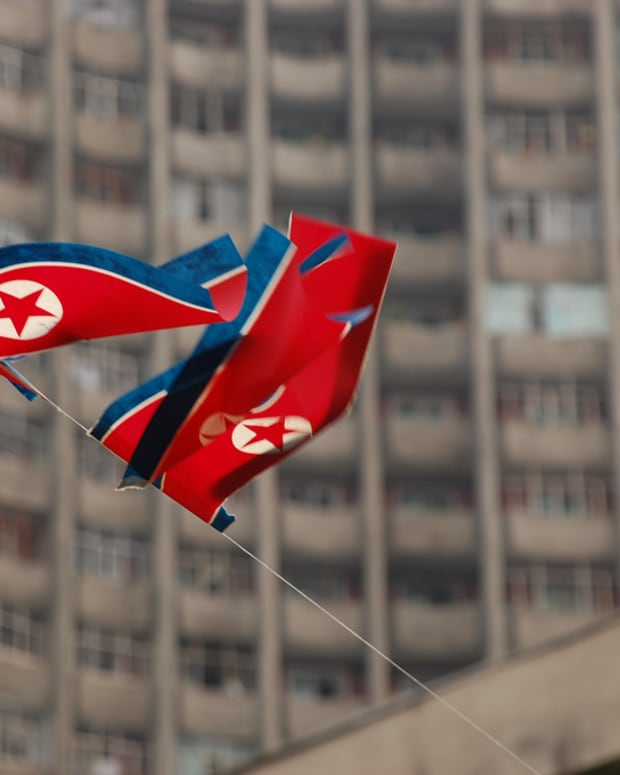 The North Korean flag in Pyongyang.