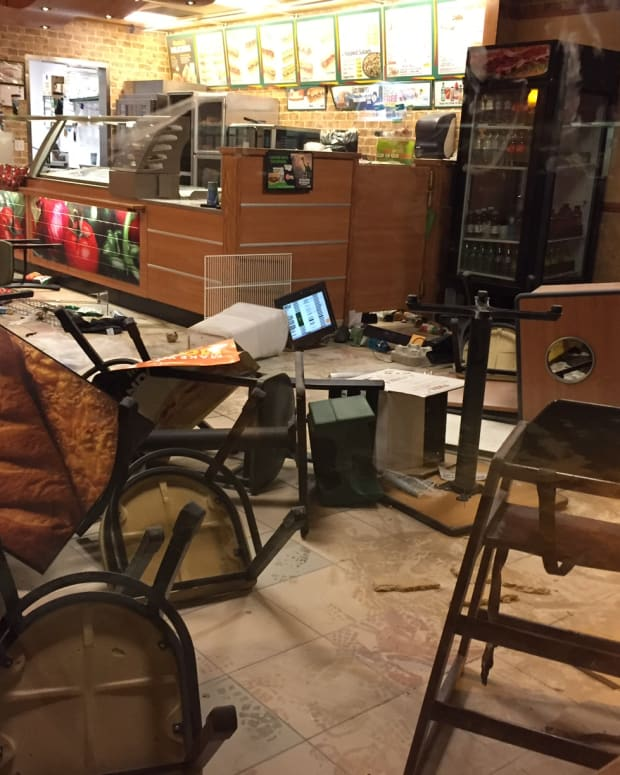 East Anchorage Subway restaurant after woman trashed it