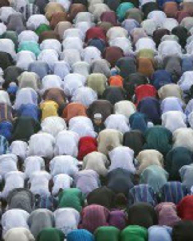 Muslims in prayer during Eid al-Adha