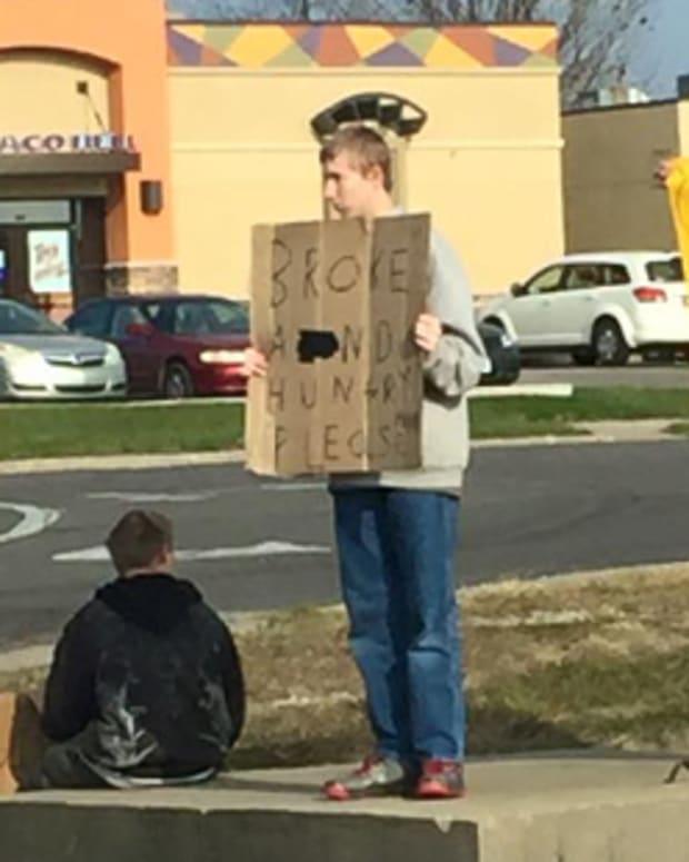 man shaming beggars