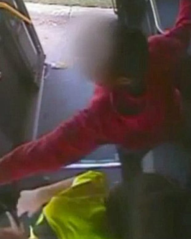 Student On Bus Forcefully Putting Hand On Driver.