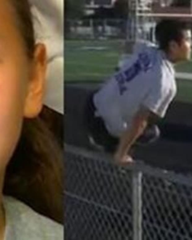 Cheerleader Sobs During Daddy-Daughter Cheer Because Dad's Overseas, Then Stranger Hops Fence Promo Image