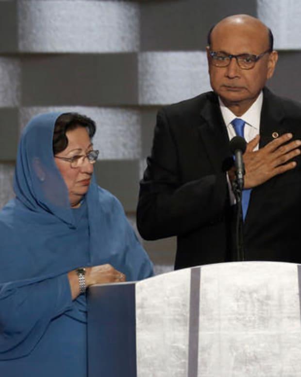 Gold Star Families Denounce Trump's Response To Khans Promo Image