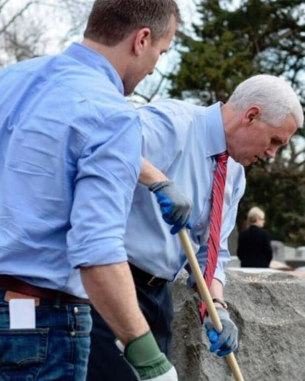Mike Pence Helps Clean Vandalized Jewish Cemetery (Video) Promo Image