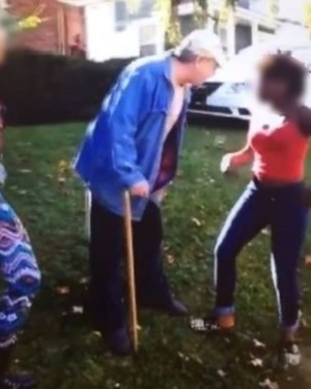 Girls Attack Elderly Man, Run Off Laughing - Don't Realize What's About To Happen To Them (Video) Promo Image
