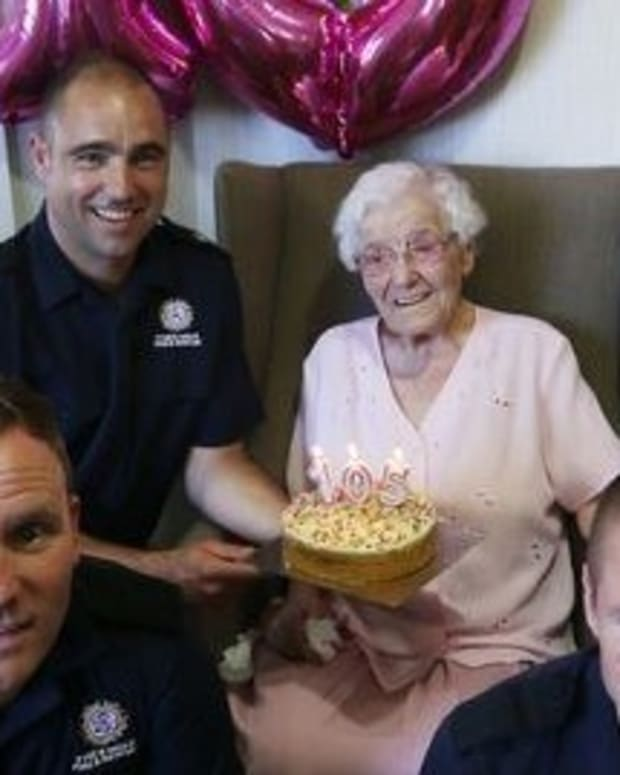 Tattooed Firemen Join Woman's 105th Birthday Party Promo Image