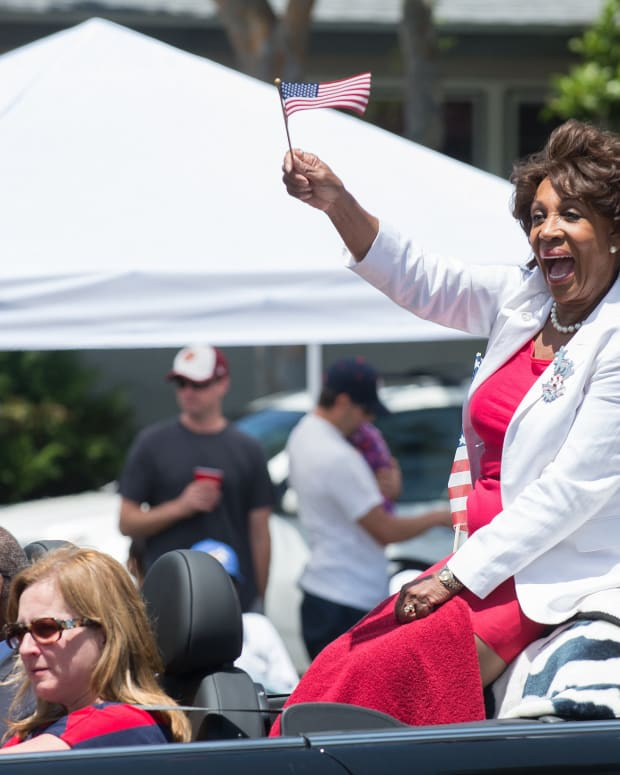 Maxine Waters Criticizes Trump Supporters Promo Image