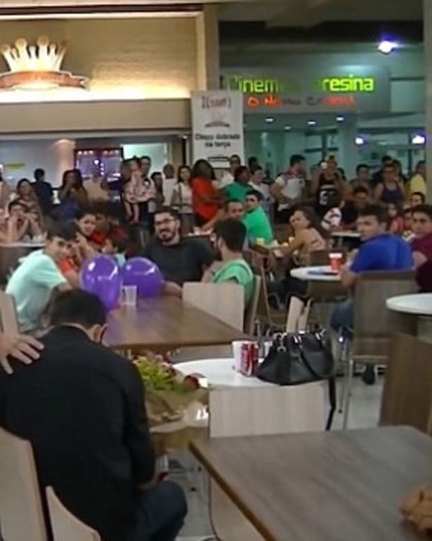 Man Gets Unexpected Response To Food Court Proposal (Video) Promo Image