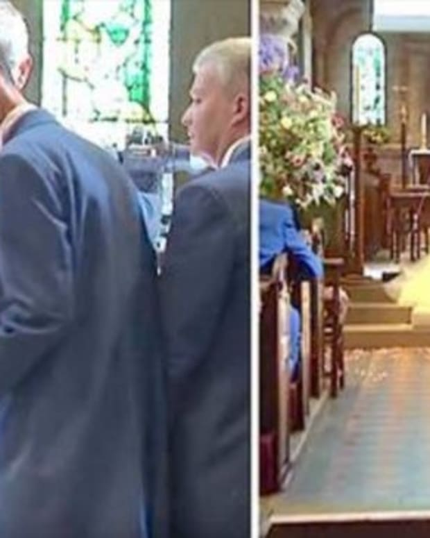 Groom Surprises Wedding Guests During Service (Video) Promo Image