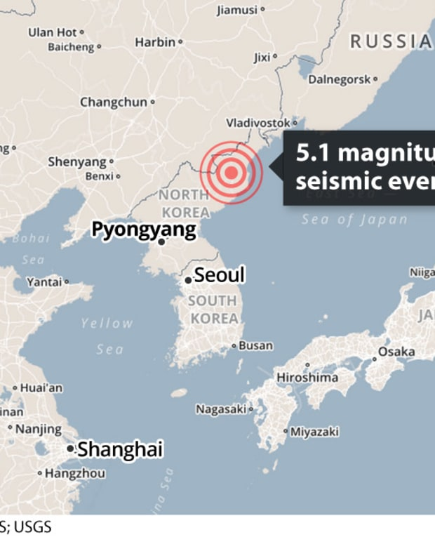 map showing where alleged H-bomb test took place in North Korea
