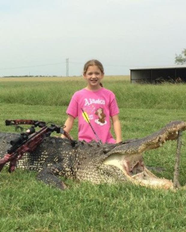 Ella Hawk with her record-breaking hunting trophy