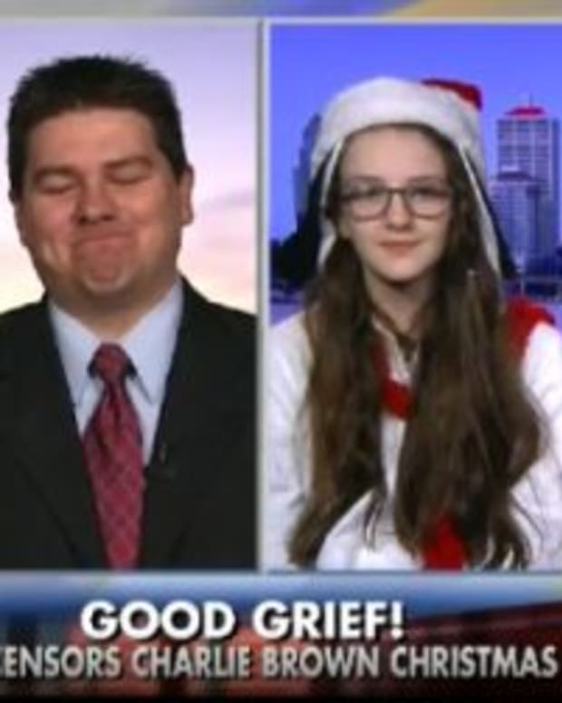 district parent Joey Collins with his daughter on Fox News