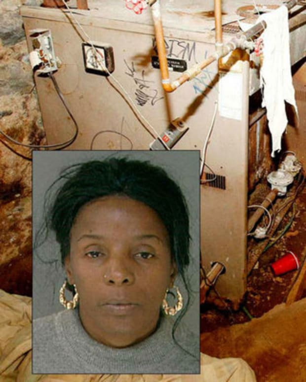 Linda Weston (pictured) and one of the basements she used to imprison the victims