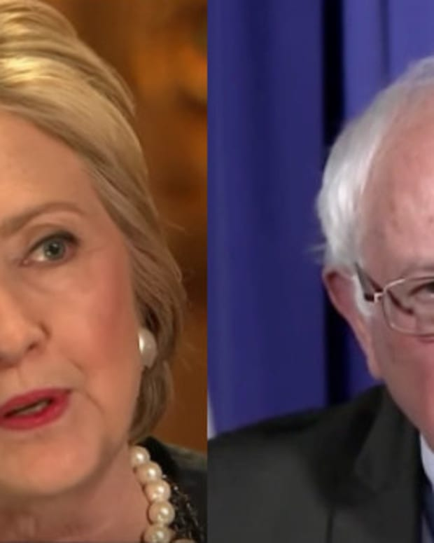 Clinton, Sanders Take Turns Blasting Trump (Video) Promo Image