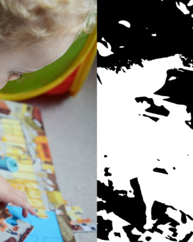 Left: baby playing with puzzle, Right: inkblot