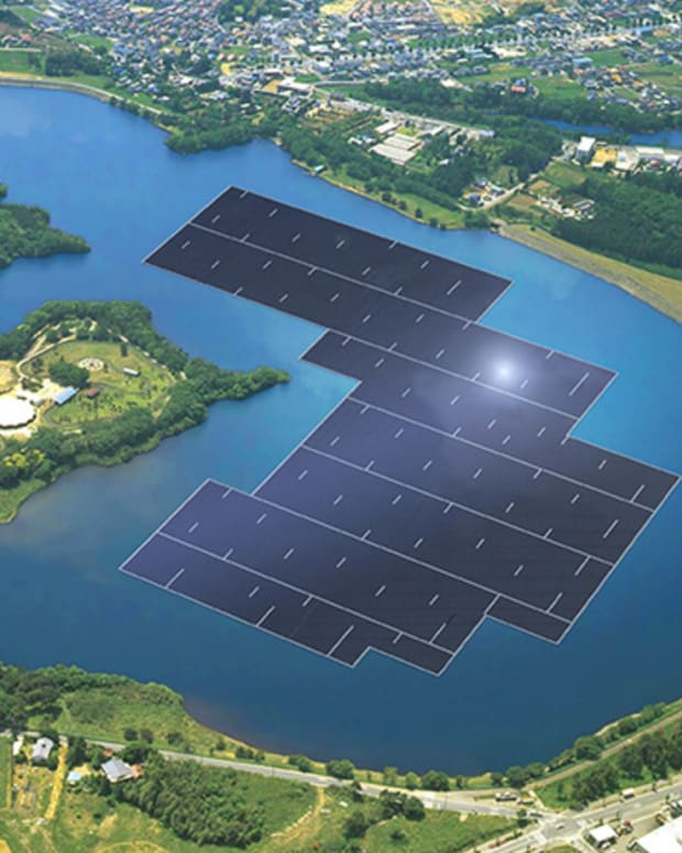 Solar Panels At Yamakura Dam, Japan.