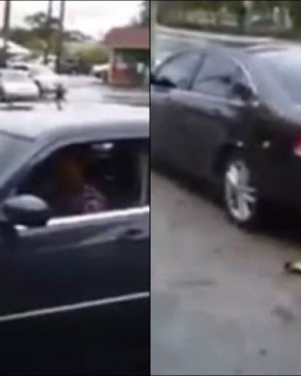 A Woman Trying To Crash Her Cheating Boyfriend's Car