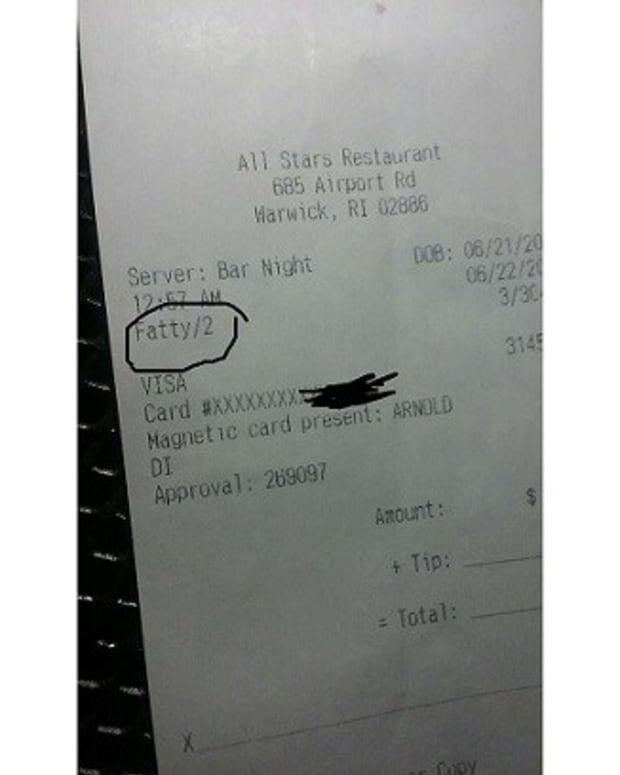 Waiter Fired: Refers To Customer As 'Fatty' On Receipt Promo Image