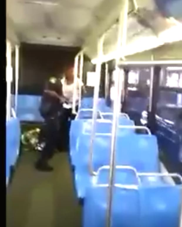 Cop Bus Woman Boston