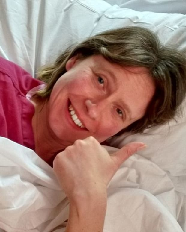 Liz Kirtley recovers from the operation