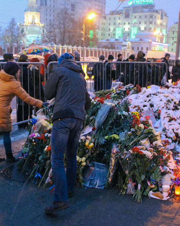 Memorial For The Victims Of The Paris Attacks At the French Embassy In Moscow
