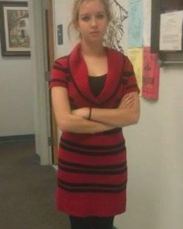 Amanda Durbin in dress that got her kicked out of class