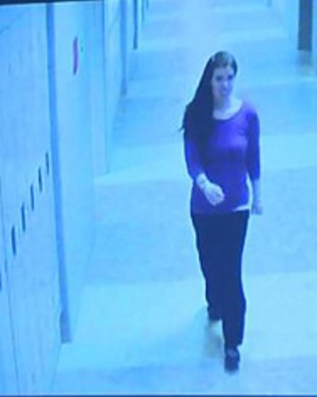 Colleen Ritzer on the school's surveillance video shortly before she died