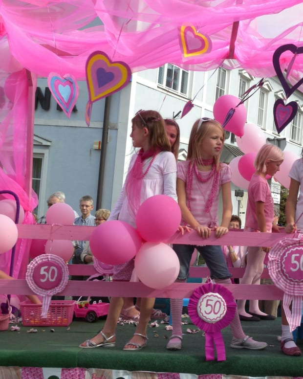 Kids at a 2009 Barbie festival celebrating the doll's 50th anniversary